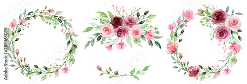 Fototapeta Watercolor Flower Wreaths Floral Clip Art Set Frames Perfectly For Print On Wedding Invitation Greeting Card Wall Art Stickers And