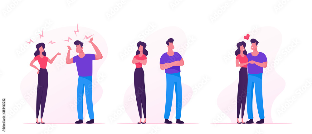 Fototapety, obrazy: Quarrel, Swear and Reconciliation of Loving Couple. Man and Woman Sorting Things Out, Fighting. Family Life, Scandal between Husband and Wife. Love Human Relations. Cartoon Flat Vector Illustration