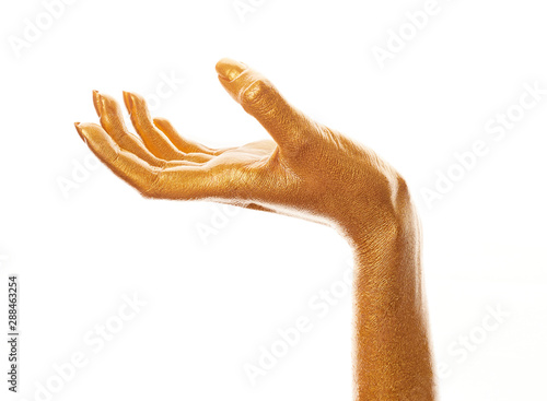 Hands in gold paint Tablou Canvas