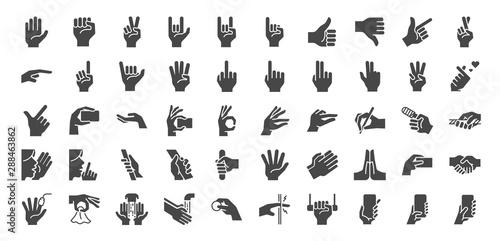 Hand gestures line icon set Canvas-taulu