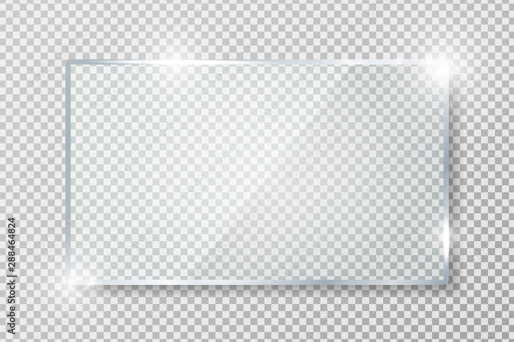 Fototapeta Transparent glass banner with reflection isolated on transparent background. Blank gloss glass plate. Realistic rectangle glass frame. Square 3d shiny display mockup. Window design. Vector