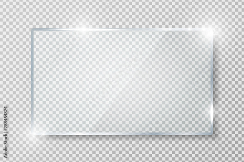 Obraz Transparent glass banner with reflection isolated on transparent background. Blank gloss glass plate. Realistic rectangle glass frame. Square 3d shiny display mockup. Window design. Vector - fototapety do salonu