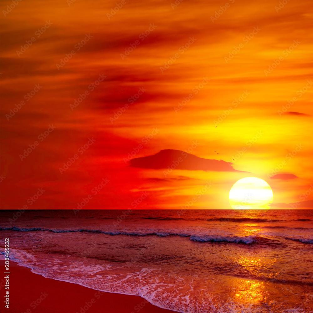 Fototapety, obrazy: Fantastic sunset over ocean