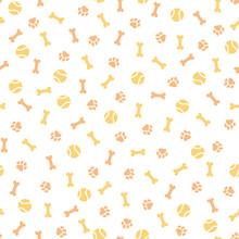 Seamless Pattern With Orange Paw Prints And Bones