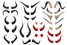 Set Of Different Horns On White Background