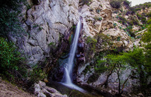 A Beautiful Long Exposure Shot Of A Waterfall, Cascade In The Angeles National Forest, California, USA