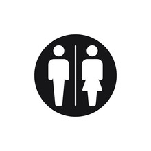 Circle Toilet Icon Male And Fe...