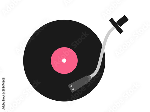 Fotomural  Vinyl disc and arm and head of record player