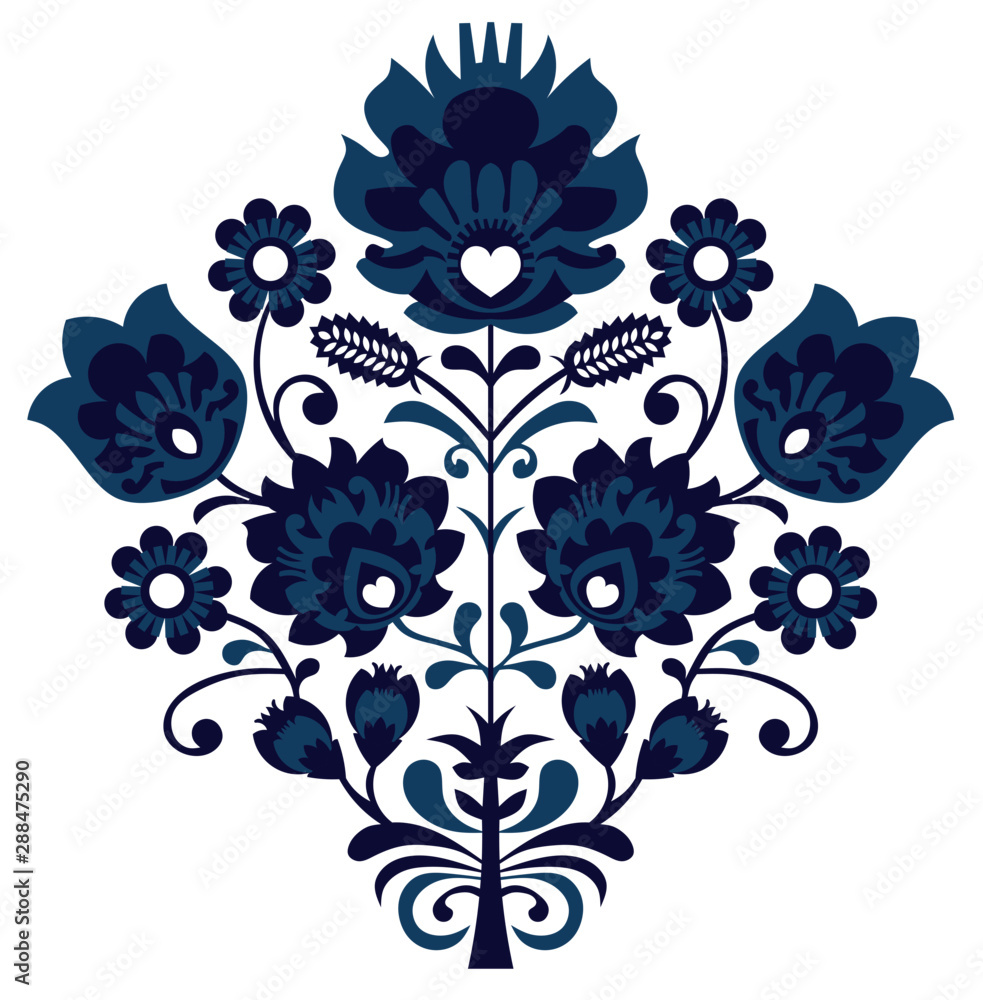 Beautiful floral ornament. Slovakia, Moravia. Traditional Slovak pattern, originating in Moravia