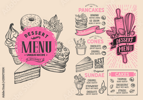 Fotografía  Dessert menu food template for restaurant with doodle hand-drawn graphic
