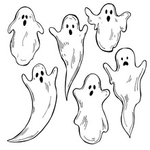 Hand Drawn  Cute Halloween  Ghosts On White Background. Vector Sketch Illustration.