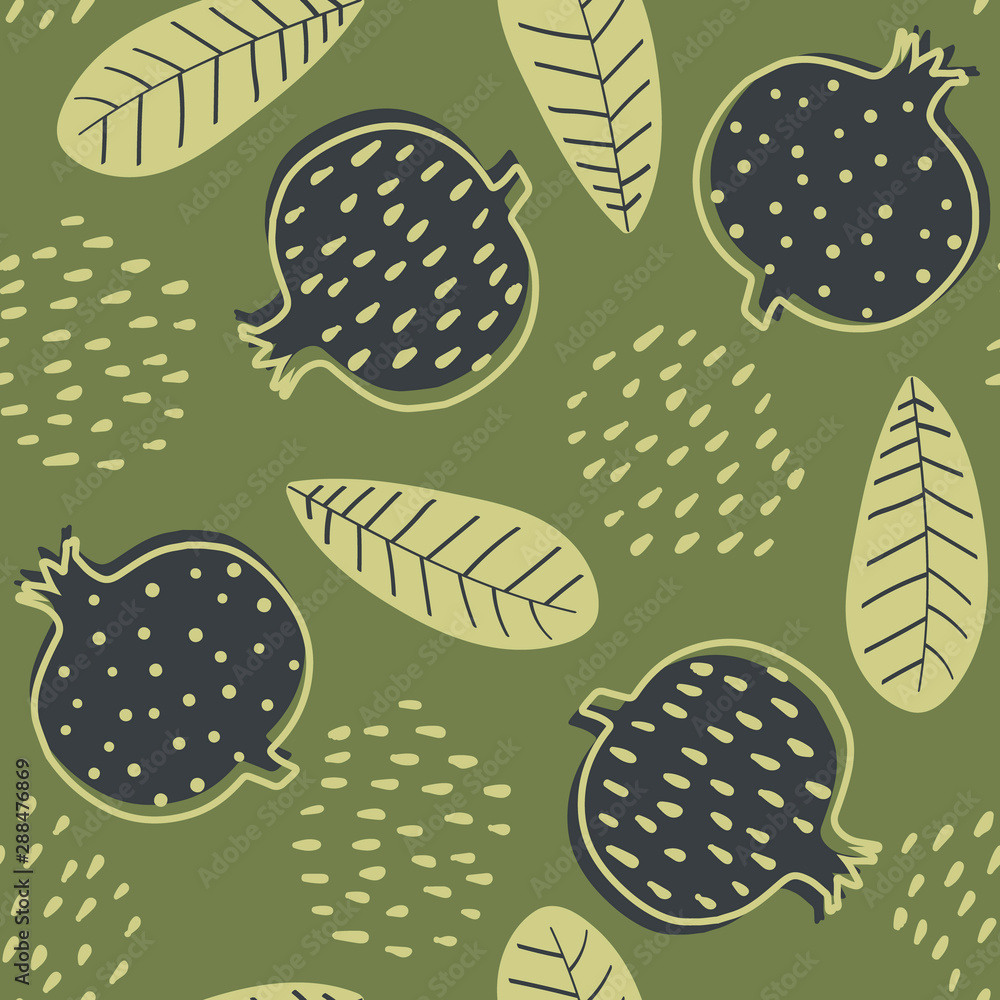 Abstract seamless pattern with stylized cartoon garnets. Design in green colors with garnets and leafs. Nature seamless pattern in scandinavian style