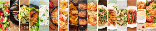 Obraz Food Collage. A design template with many tasty dishes - fototapety do salonu