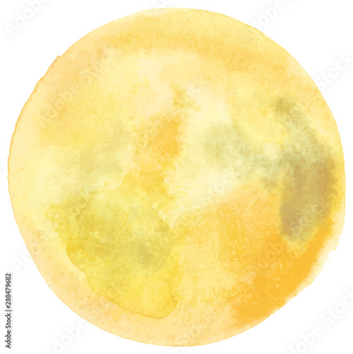 Fotografía  Vector and watercolor full moon drawing in pale golden yellow, an abstract backg