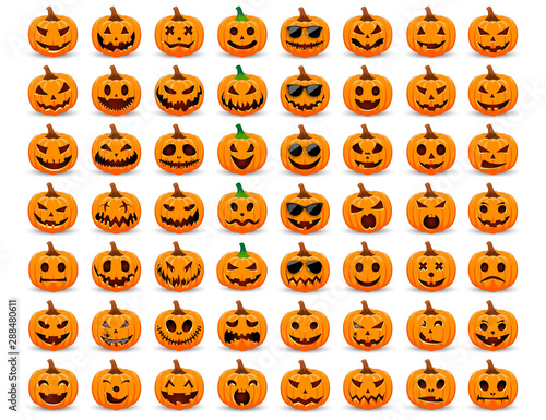 Set pumpkin on white background. The main symbol of the Happy Halloween holiday. Orange pumpkin with smile for your design for the holiday Halloween. Vector illustration. Wall mural