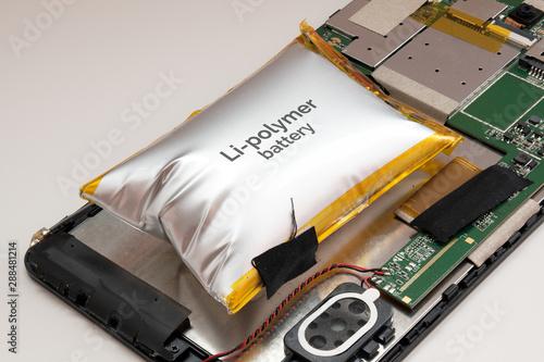 Obraz na plátně damaged bloated, swollen, distent Li-polymer battery in tablet