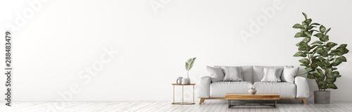 Valokuvatapetti Interior of living room with white sofaand coffee table panorama 3d rendering