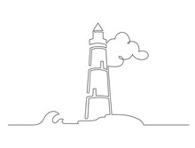 Hand Drawn Black Line Lighthouse Isolated On White Background. Sketch Drawing Of Lighthouse. Continuous One Line Drawing. Vector Illustration