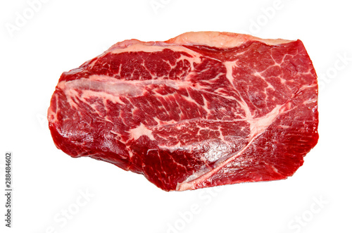 Leinwand Poster Top blade steak marbled beef on white background