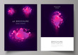 The vector layout of A4 format modern cover mockups design templates for brochure, magazine, flyer, booklet, annual report. Black background with fluid gradient, liquid pink colored geometric element.