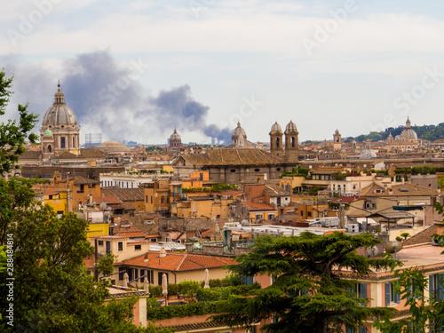 Foto auf Leinwand Toskana Summer fire in Rome, Italy