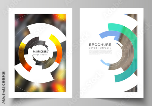 Echelle de hauteur Vector layout of A4 format modern cover mockups design templates for brochure, magazine, flyer, booklet, report. Futuristic design circular pattern, circle elements forming geometric frame for photo.