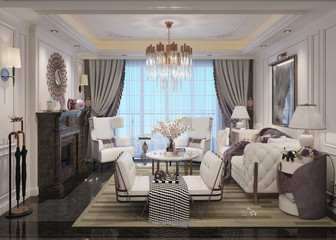 Living room interior in american style 3D illustration