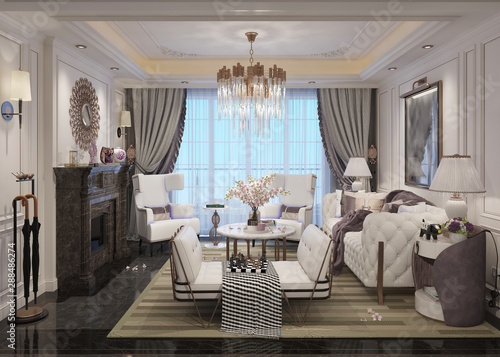 Living room interior in american style 3D illustration - fototapety na wymiar