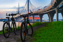Bicycles At Sunset. Two Bicycl...