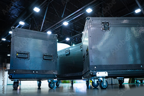 Concert boxes. Equipment for organizing concerts. Boxes on wheels. Transportation of musical equipment. Boxes for musical equipment. Musical electronics delivery. Black boxes for transportation. - 288487000