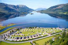 Caravan Camping Park Site In Invercoe Near Glencoe Aerial Birdseye View In The Highlands Scotland