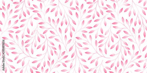 Fototapeten Künstlich Seamless pattern with stylized leaves. Watercolor hand drawn illustration.