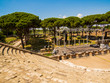 Roman Theater, Ancient Archaeological site of Ostia Antica in Rome, Italy