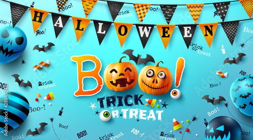Vászonkép  Halloween poster with text Boo! trick or treat and Halloween Ghost Balloons
