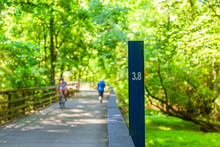 3.8 Mile Marker On Fitness Trail In Spring