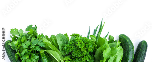 plakat fresh green vegetables and herbs border on white background