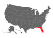 Florida vector map silhouette. High detailed illustration. United state of America country