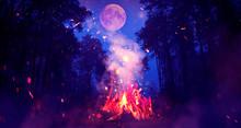 Night Forest, Landscape. Bonfi...