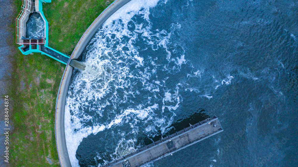 Fototapeta Aerial view water treatment tank with waste water.