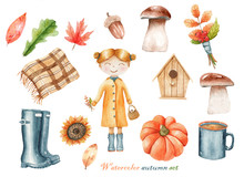 Watercolor Set Of Illustration...