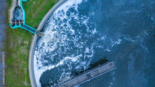 Aerial view water treatment tank with waste water. Canvas-taulu