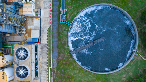 Vászonkép  Aerial view water treatment tank with waste water.