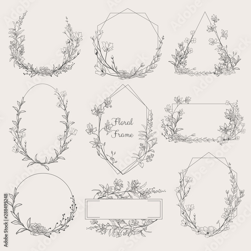 Obraz Collection of geometric vector floral frames. Round, oval, triangle, square Borders decorated with hand drawn delicate flowers, branches, leaves, blossom. illustration - fototapety do salonu