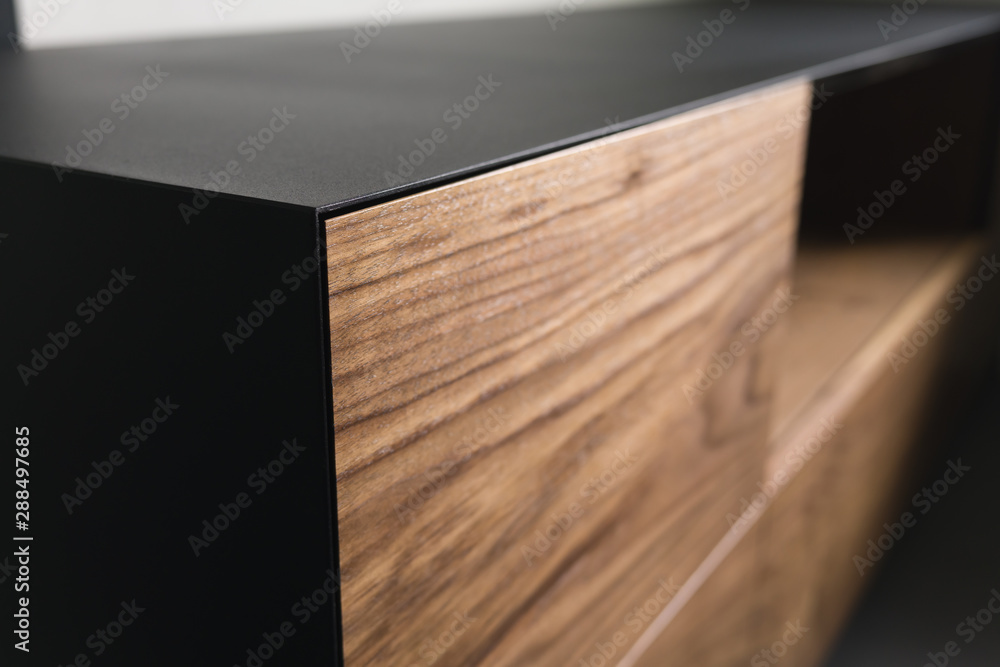 Fototapety, obrazy: Closeup details of modern tv stand made from walnut and powder coated steed