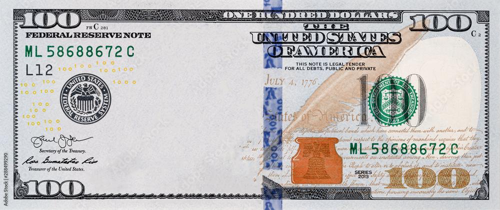 Fototapety, obrazy: U.S. 100 dollar border with empty middle area