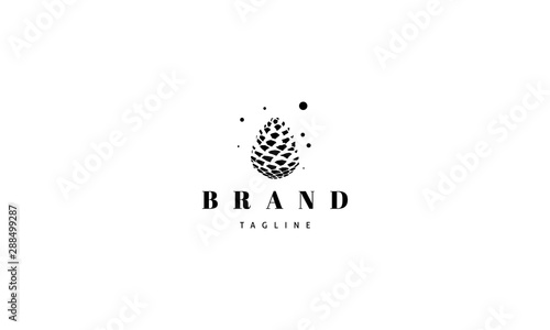 Obraz Vector logo with an abstract image of a pine cone. - fototapety do salonu