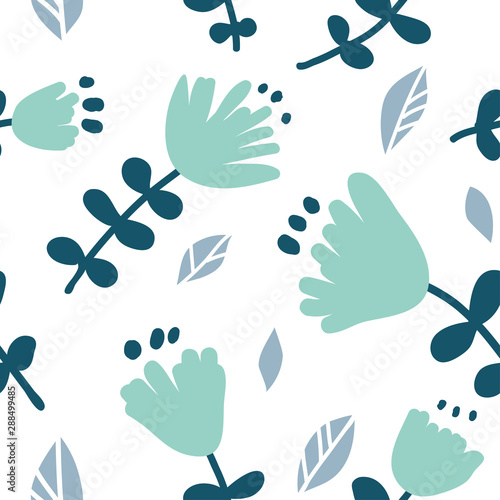 Seamless pattern with colorful hand drawn flowers Wall mural