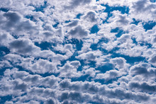Puffy White Clouds In Blue Sky