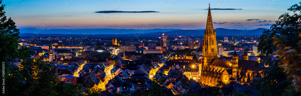 Fototapety, obrazy: Germany, XXL panorama of city freiburg im breisgau from above in summer in magical twilight atmosphere after sunset