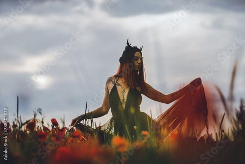 Fotografie, Tablou  Tätowiertes Model (Maleficent) im Mohnblumenfeld